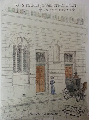 Historical painting of St Marks Church in Florence, Italy
